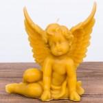 Świeca woskowa anioł siedzący duży Łysoń