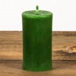 Świeca woskowa okrągła mała zielona Łysoń