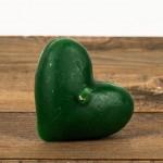 Świeca woskowa serce pływające zielone Łysoń