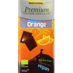 Czekolada premium gorzka 71% z kawałkami pomarańczy bez laktozy, bezglutenowa (na napoju ryżowym) BIO 100g Bonvita
