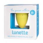 Kubeczek menstruacyjny + woreczek Model 2 Żółty Lunette